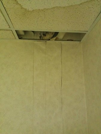 Baymont Inn & Suites Mooresville: Dripping water from celing and wall falling apart from water damage