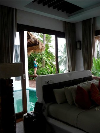 Koh Tao Cabana: Looking out of our room to the private pool