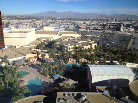 Rio All-Suite Hotel & Casino: View of the grounds from 19th floor suite overlooking pool area.