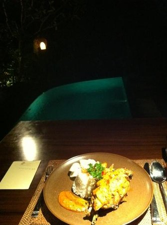 Bidadari Private Villas & Retreat - Ubud: Dinner mit einem Ausblick..