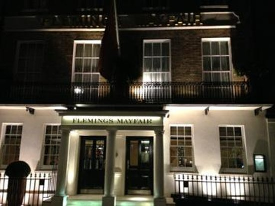 Flemings Mayfair: Front facade at night