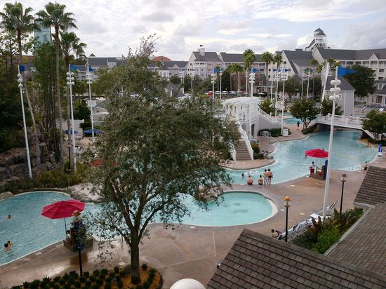 Disney's Beach Club Resort: View from our room. Amazing sand bottom pool!