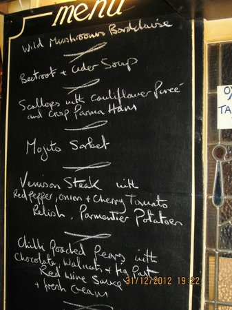 The Dering Arms: lovely menu