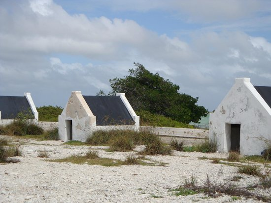 Bellafonte Luxury Oceanfront Hotel: North end. Bonaire. Slave Huts from 1800s.