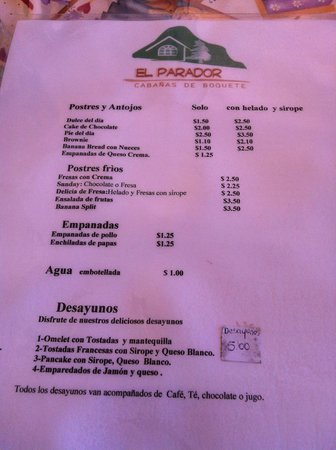 El Parador: Menu in spanish side 1