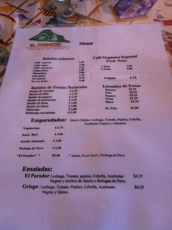 El Parador: Menu in spanish side 2