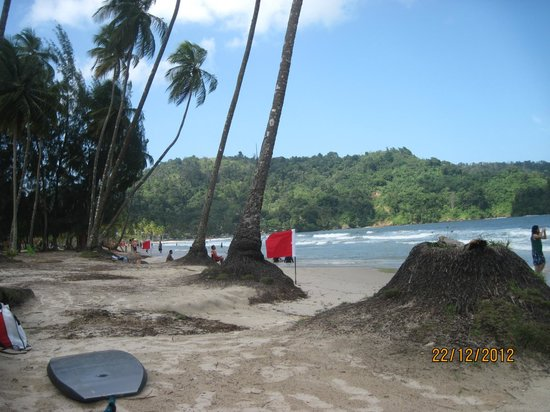 Maracas Bay: the flags mark the dangerous currents
