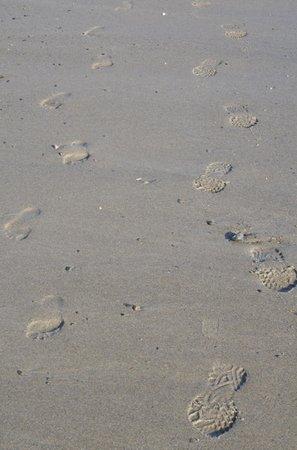 Wells Beach: Bare feet in January? A hearty soul!