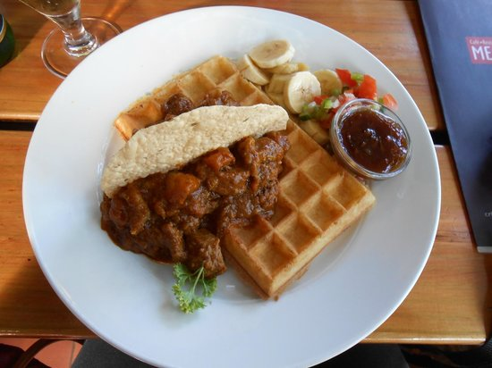 The Waffle House: Chicken Curry Waffle (Savoury)
