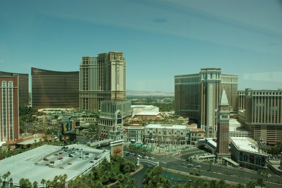The Mirage Hotel & Casino: View from upper floor facing the strip.