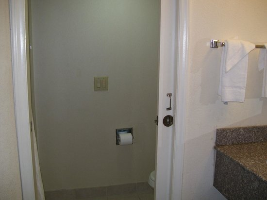 Sleep Inn: View of the closet-sized bathroom