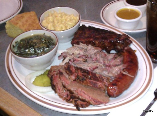 PaulO's Texas Style BBQ: Pit Master's Choice Plate with Greens & Mac & Cheese