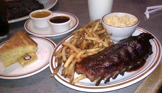 PaulO's Texas Style BBQ: Smoked and Grilled Baby Back Pork Ribs w/ Mild Sauce, French Fries & Mac & Cheese
