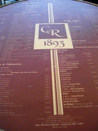 Kyriad Montpellier Centre - Antigone: Меню прямо на столе. Площадь Комедии