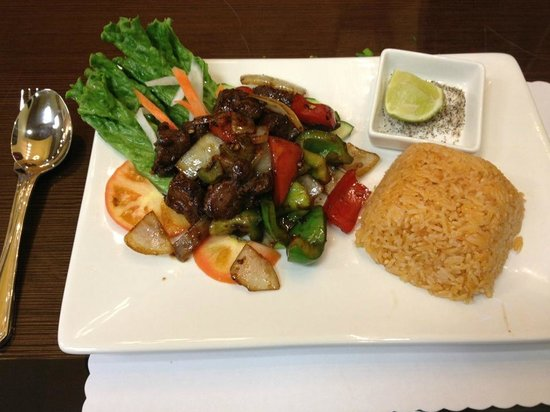 Pho 24: shaking beef with tomato rice