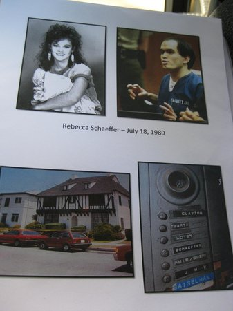 Dearly Departed Tours: Page from the folder on Rebecca Schaeffer