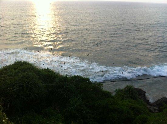 Krishnatheeram Ayur Holy Beach Resort: overlooking cliffs walking up to restaurants