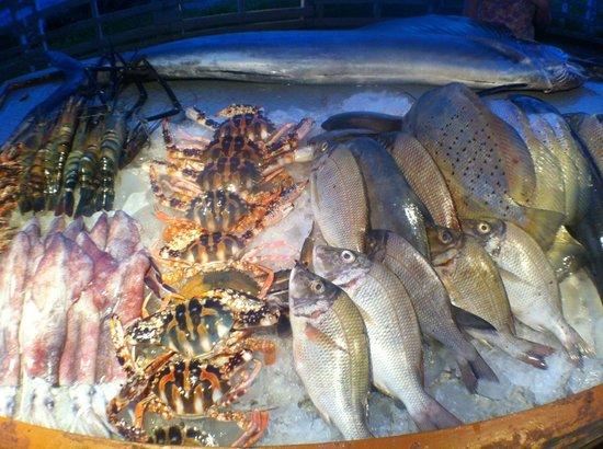 Krishnatheeram Ayur Holy Beach Resort: Catch of the day at one of the restaurants