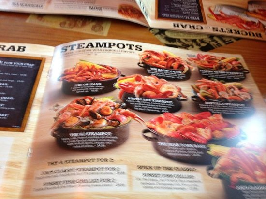Steampots Menu Picture Of Joes Crab Shack Auburn Hills