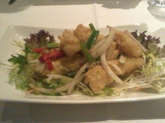 Orchid Sichuan: Fried Squid & veg