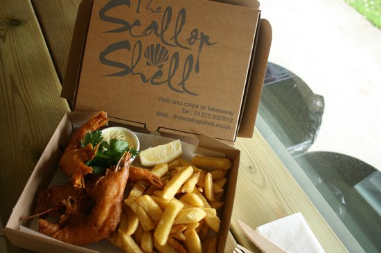Whiterow Fish And Chips: King size prawns & chips