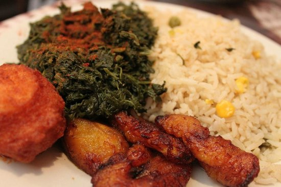 Bennachin Restaurant: Spinach, Plantains, & Rice