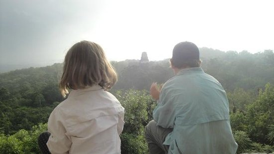 Jungle Lodge: At the top of Temple IV at sunrise