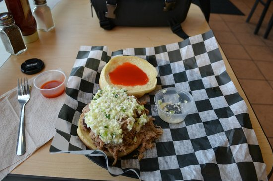 Bubba-N-Franks: NC Style BBQ with slaw and hot sauce