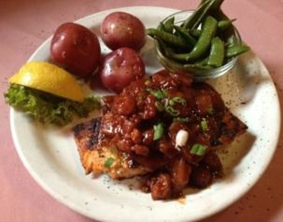 Flamingo Grill: Blackened Salmon topped with shrimp pineapple bbq sauce