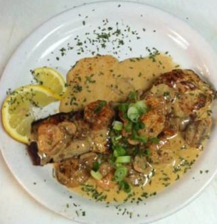 Flamingo Grill: Grilled mako topped with a shrimp mushroom sherry cream sauce
