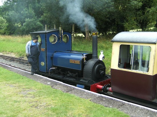 Bala Lake Railway: The narrow gaugue train and driver.