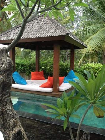 The Trawangan Resort: bale beside the pool overlooking the coconut grove next door