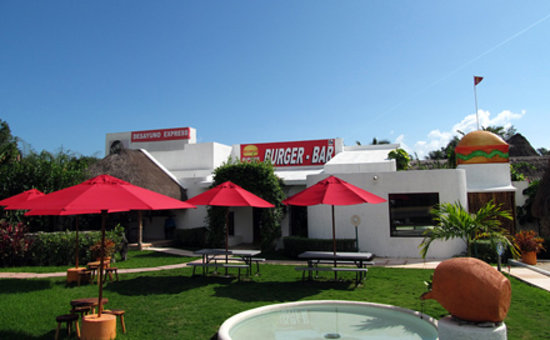 Burger Stop: Dine indoors, outdoors, or take out.