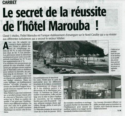 Le Carbet, Martinik: Article France Antilles du 11 janvier 2013
