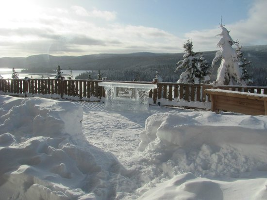Hotel Sacacomie: The balcony of the bar with its ice bar