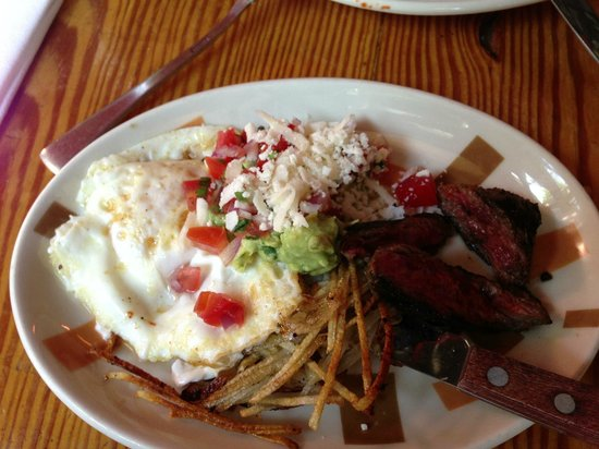 Border Grill : Steak & Eggs with crispy poblano potatoes and chopotle sauce