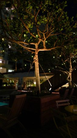 The Modern Honolulu: Main pool area at night