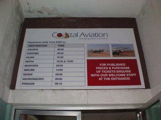 Kilwa Kisiwani: Vluchtschema DAR-Kilwa
