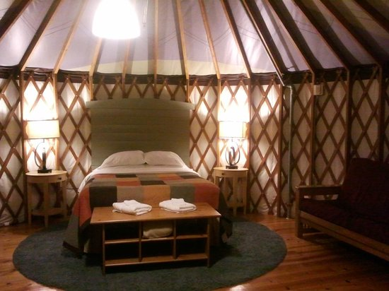 Treebones Resort: Inside of the yurt by night