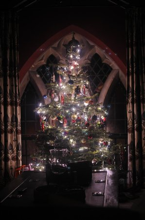 The Old School Bed and Breakfast: Beautiful Christmas tree set up in the sitting room.