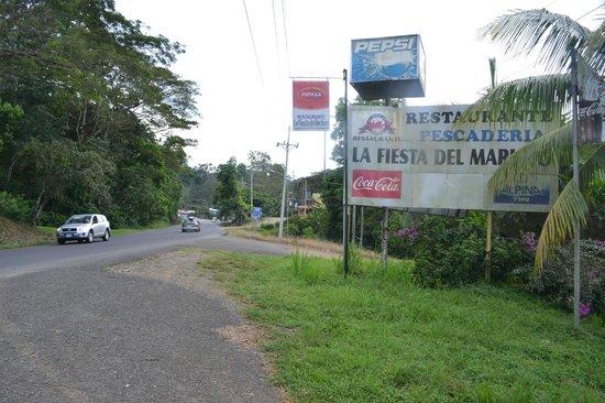 Fiesta del Mariscos: Restaurant sign from the street.