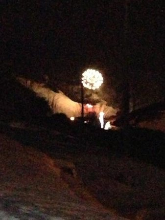 Alpine Highs Chalet Joran: New Year fireworks in Morzine. View from back garden.
