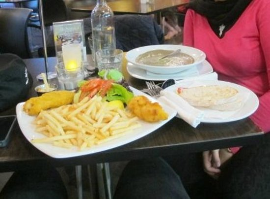 Full of Beans : The fish& chips and mushroom soup