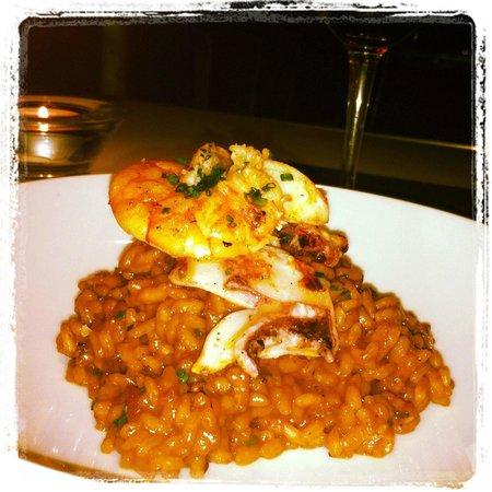 "Imprevist Restaurant: ""rice with cuttlefish and prawns"""