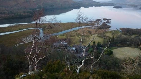 Lodore Falls Hotel: View from crag above hotel