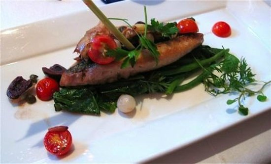 La Locanda: chita rockfish with spinach pickles onions, cherry tomatoes, lemongrass and green beans