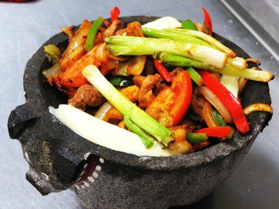 Osorio's Latin Fusion: Molcajete -- our ulitmate mixed grill