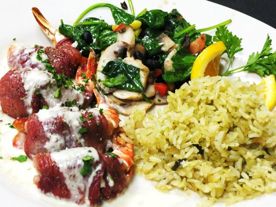 Osorio's Latin Fusion : Cecina wrapped shrimp