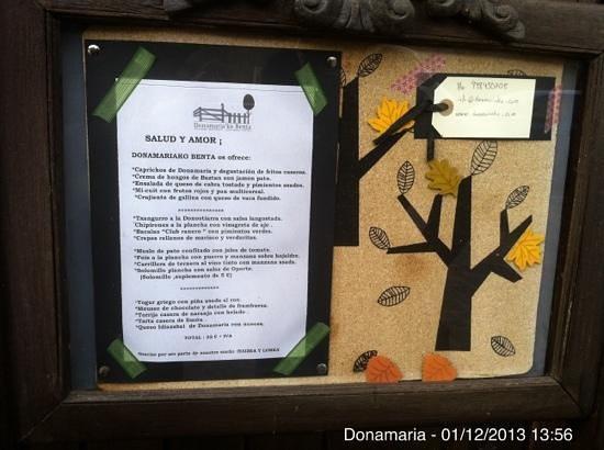 Donamaria'ko Benta: Carta