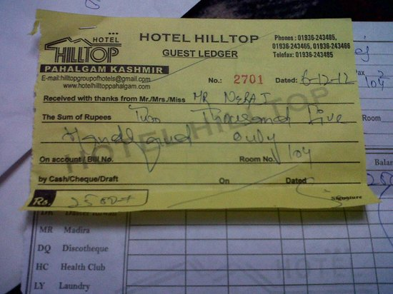 Cash receipt picture of hotel hilltop gulmarg tripadvisor hotel hilltop cash receipt thecheapjerseys Images